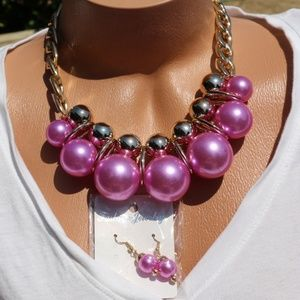 Chunky Boho Faux Pearl Purple Necklace Earring Set